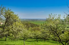 Uma vista do campo no Meuse fotografia de stock