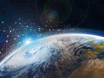 Uma vista do espaço à terra O conceito da transmissão de dados e do armazenamento nas nuvens O Internet cobre o planeta ilustração do vetor