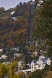 Uma vista do teleférico de Territet-Glion fotografia de stock