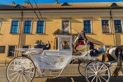 Uma vista na cidade velha medieval no Pol?nia de Krakow fotos de stock royalty free