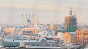 Uma vista na vista principal de Kazan - mesquita central Reconstrução da igreja video estoque