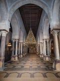 Uma vista na sala da oração na grande mesquita em Kairouan Imagens de Stock Royalty Free