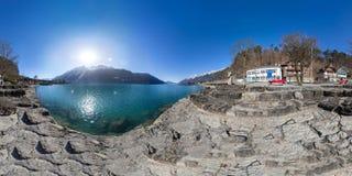 uma vista panorâmica de 360 graus do lago Brienz, Suíça Imagem de Stock Royalty Free