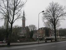 Uma vista para o centro de Groningen, os Países Baixos fotografia de stock