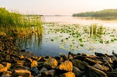 Vista do rio de Dniper na manhã fotografia de stock