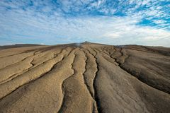 Uma vista selenar no vulcão da lama Imagem de Stock Royalty Free