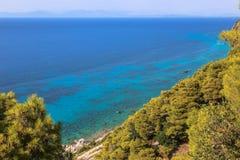 Uma vista sobre a floresta do pinho no mar de turquesa foto de stock