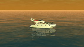 Uma vista superior de um barco no oceano alaranjado filme