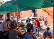 Uma vista típica em Cartagena Colômbia fotos de stock royalty free