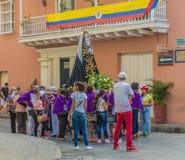 Uma vista típica em Cartagena em Colômbia fotos de stock