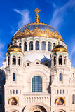 Uma vista vertical das abóbadas de St Nicholas Naval Cathedral dentro Imagem de Stock Royalty Free