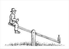 Uma vodca do homem idoso e o balanço Imagens de Stock