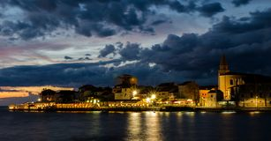Umag at night stock photography