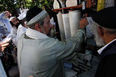 Uman, de Oekraïne - 14 September 2015: Elk jaar, duizenden Orthodoxe Hasidic Joden van Bratslav Royalty-vrije Stock Afbeeldingen