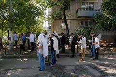 Uman, de Oekraïne - 14 September 2015: Elk jaar, duizenden Orthodoxe Hasidic Joden van Bratslav Royalty-vrije Stock Fotografie