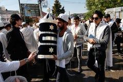 Uman, de Oekraïne - 14 September 2015: Elk jaar, duizenden Orthodoxe Hasidic Joden van Bratslav Stock Fotografie