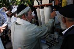 Uman, Ucrânia - 14 de setembro de 2015: Cada ano, milhares de judeus Hasidic ortodoxos de Bratslav Imagens de Stock Royalty Free