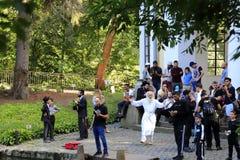 Uman Ukraine. Hasidic Jews dance, sing and pray during the Jewish New Year in the park. September 13, 2018, Uman Ukraine. Hasidic Jews dance, sing and pray royalty free stock photos