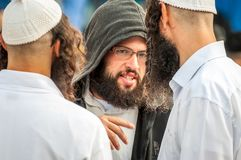 Rosh Hashanah, Jewish New Year 5777. Pilgrims of Hasidim in traditional festive attire celebrate mass in sity the Uman. Uman, Ukraine - 2 October 2016: Rosh royalty free stock image