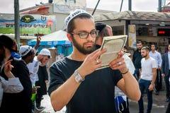 Rosh Hashanah, Jewish New Year 5777. Pilgrims of Hasidim in traditional festive attire celebrate mass in sity the Uman. Uman, Ukraine - 2 October 2016: Rosh royalty free stock images