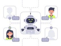 Umano comunica con chatbot Assistente virtuale, supporto e conversazione online di assistenza con il vettore del bot di chiacchie illustrazione vettoriale