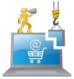Umano-costruttore e e-negozio Immagini Stock Libere da Diritti