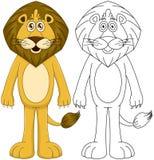 Umanoide sveglio Lion With Lineart Fotografia Stock
