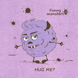 Umarmen des lustigen rauhaarigen Monsters Stockfotografie