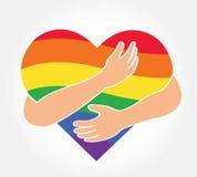 Umarmen Sie das Regenbogenherz, Symbol der Liebe LGBT Lizenzfreies Stockfoto