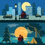 Umarmen Sie die Romanze Liebe der Umarmungspaare, welche die flache Nachtstadt im Freiendatiert stock abbildung