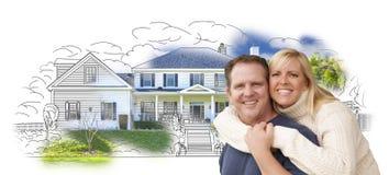 Umarmen von Paaren über Haus-Zeichnung und von Foto auf Weiß Stockfotos
