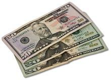 Umas $50 e duas $20 contas Foto de Stock Royalty Free