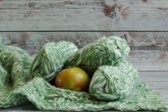 Umas maçã e linha para a mentira de confecção de malhas em uma manta em um fundo claro imagem de stock
