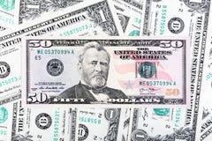 Umas nota de dólar e foto do close-up da cédula de cinqüênta dólares Fotos de Stock Royalty Free