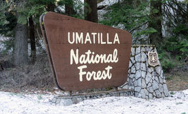 Umatilla National Forest Entrance Sign Oregon Wilderness Stock Photography