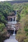 Umauma Falls at World Botanical Gardens, Hawaii. Vertical landscape of three-tiered Umauma Falls at World Botanical Gardens, Hawaii Royalty Free Stock Images