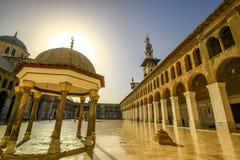 Umayad mosque damascus. Into the sun at Damascus mosque Stock Image