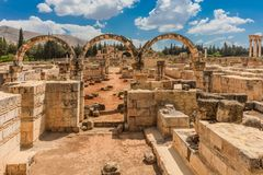Umayyad Aanjar Beeka黎巴嫩的废墟 库存图片