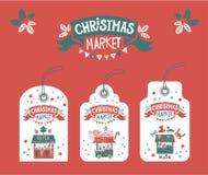 Umbauten, Aufkleber für Weihnachtsmarkt lizenzfreies stockfoto