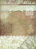 Umber vintage background. Green and brown vintage background with lace,old map  and ornaments Stock Photography