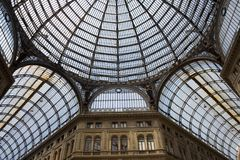 Umberto gallery in Naples. Detail of the glass roof of Galleria Umberto I, a 19th century public gallery in Naples, Italy Royalty Free Stock Photo