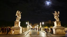 Umberto I bridge night. Rome, Italy - June 17, 2016: Umberto I bridge in Rome city, Italy, by night. located on Tiber river. View from roman Castel Sant'Angelo stock video