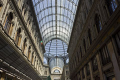 Umberto I gallery architectural detail. Naples, Italy, August 10, 2014: Umberto I gallery architectural detail, view of the  great glass-roofed arcade, perhaps Royalty Free Stock Photo