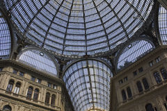 Umberto I gallery architectural detail. Naples, Italy, August 10, 2014: Umberto I gallery architectural detail, view of the  great glass-roofed arcade, perhaps Royalty Free Stock Image