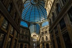 Umberto I gallery in the city of Naples stock photography
