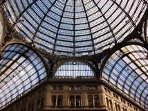 Galleria Umberto I in Naples Italy. A view of the glass ceiling at Galleria Umberto I shopping gallery in Naples, southern Italy Stock Images