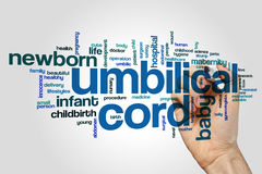 Umbilical cord word cloud. Concept on grey background stock images