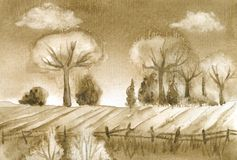 Umbra Landscape. Watercolor painting, designed and painted by the photographer Stock Photography