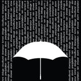 Umbrella. With rain represented by related words Vector Illustration