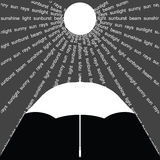 Umbrella. With suns rays represented by related words Stock Illustration